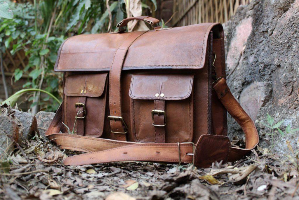 Cross Shoulder 100% Genuine Leather Briefcase Bag