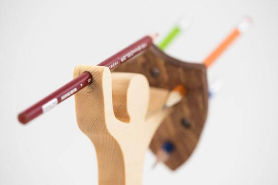 Wooden Warrior Pencil Holder