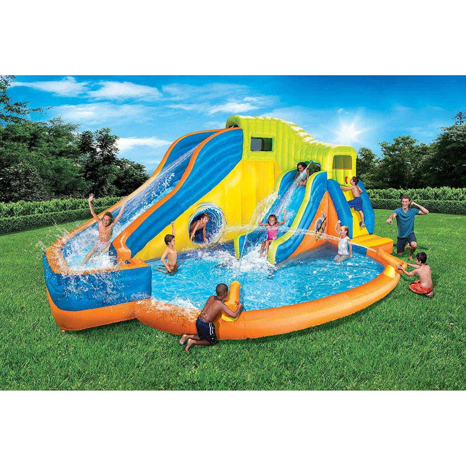 Banzai Pipeline Twist Inflatable Outdoor Water Park Pool ...