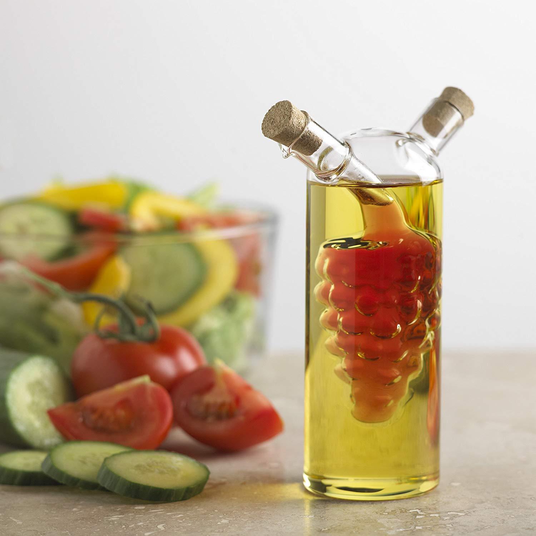 Fox Run Glass Oil and Vinegar Bottle Grape Motif