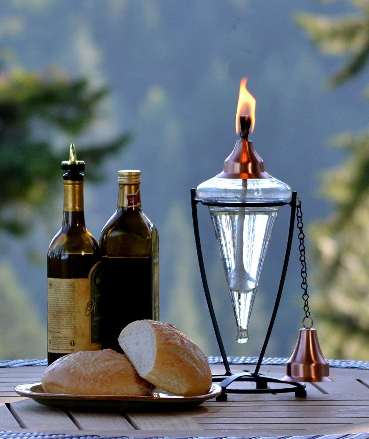 H Potter Outdoor Torch Tabletop Garden Torch Copper Top