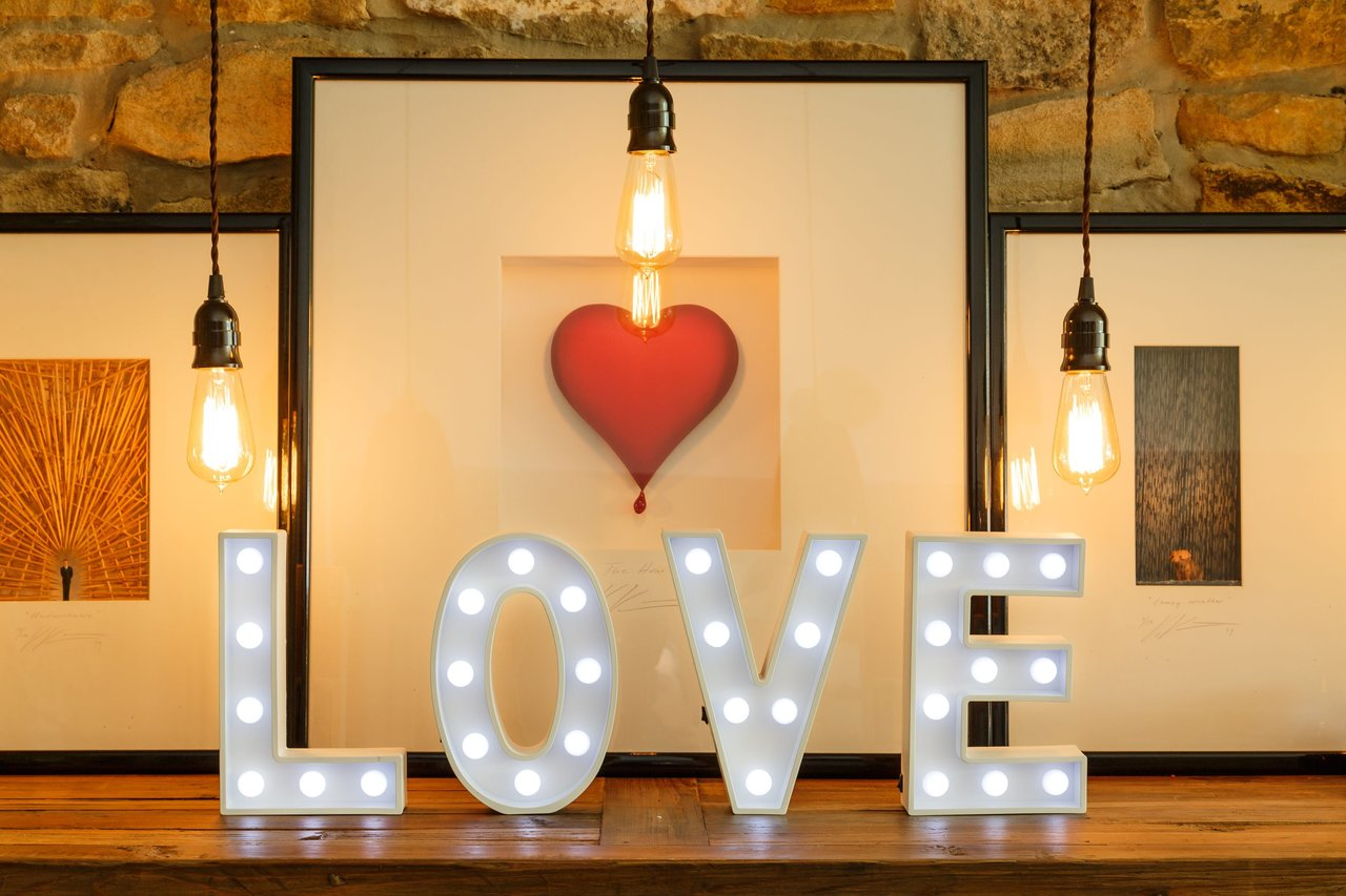 Light Up LOVE Decorative White Wooden Marquee Letters