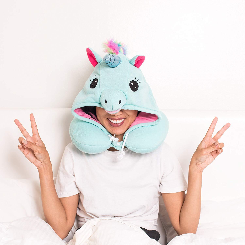 Unicorn Hooded Travel Neck Pillow