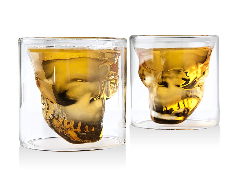 Whiskey Decanter Skull Set with 2 Cocktail Shot Glasses