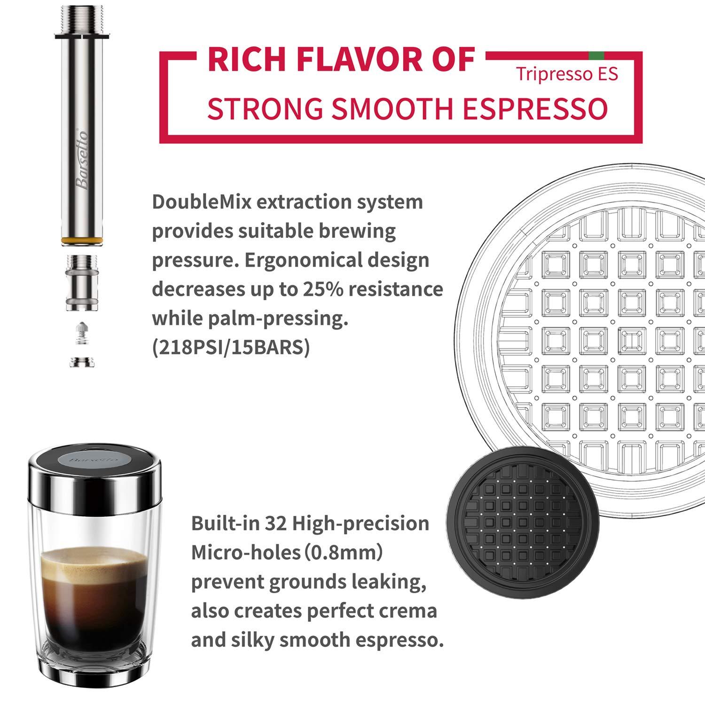 Barsetto Coffee Maker Espresso 15 Bar Hand Press Capsule and Ground