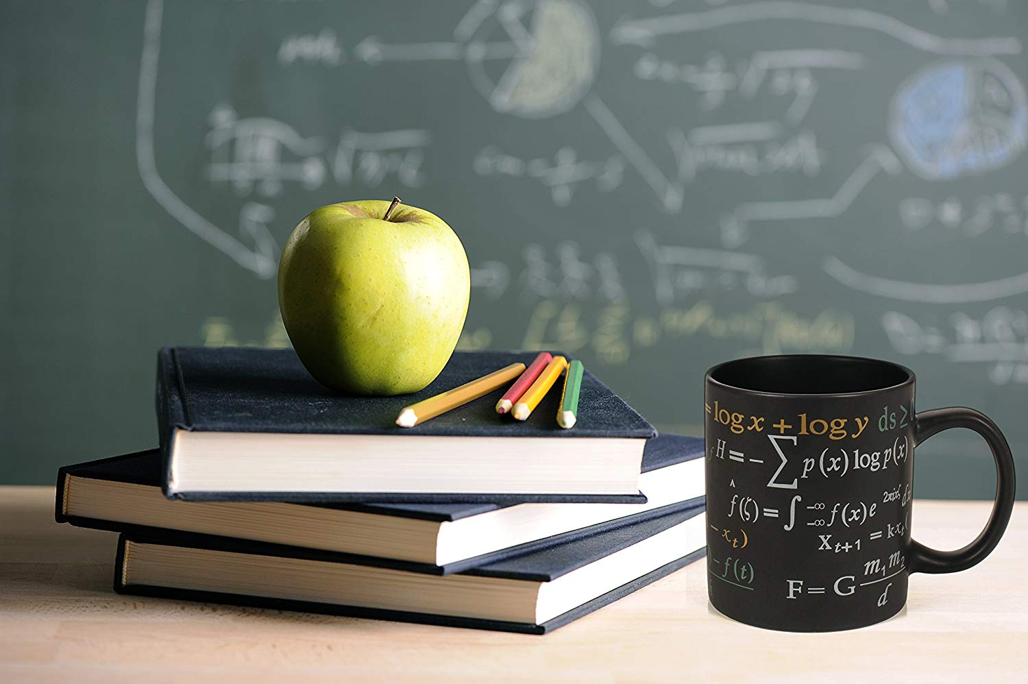 Coffee Mug Featuring Famous Mathematical Formulas