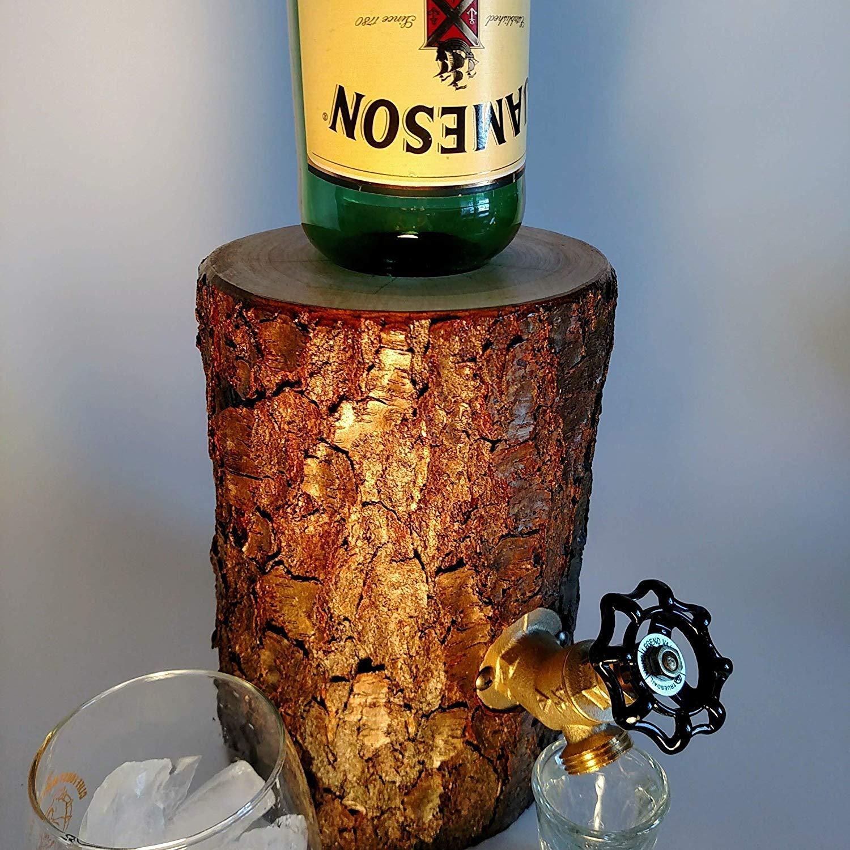 Wood Log Liquor Dispenser