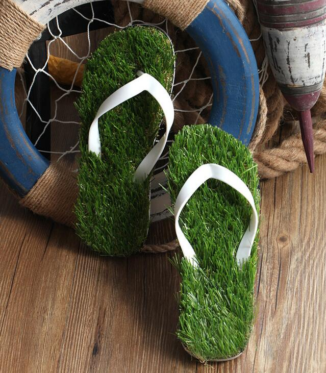 Grass Flip Flops for the Swimming Pool