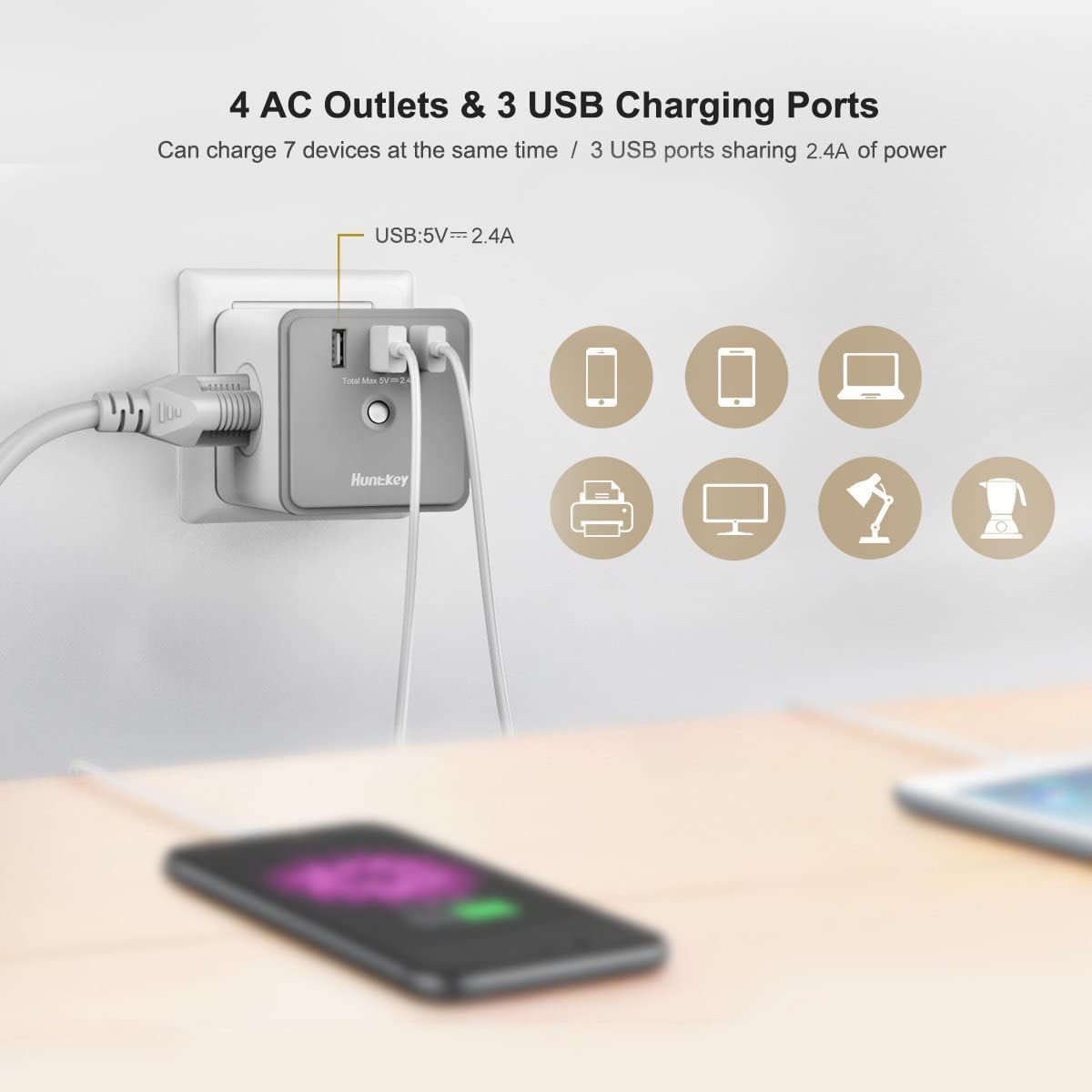 Surge Adapter with 4 AC Outlets and 3 USB Charging Ports
